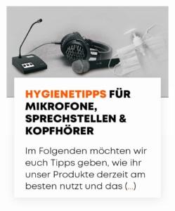 Hygienetipps für Mikrofone, Sprechstellen & Kopfhörer