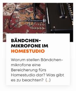 beyerdynamic Bändchenmikrofone im Homestudio